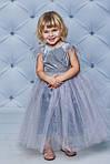 Нарядное велюровое платье с крылышками  Серое, фото 2