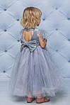 Нарядное велюровое платье с крылышками  Серое, фото 3