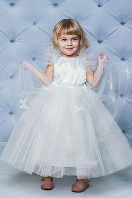 Ошатне атласну сукню з метеликами Кремовий