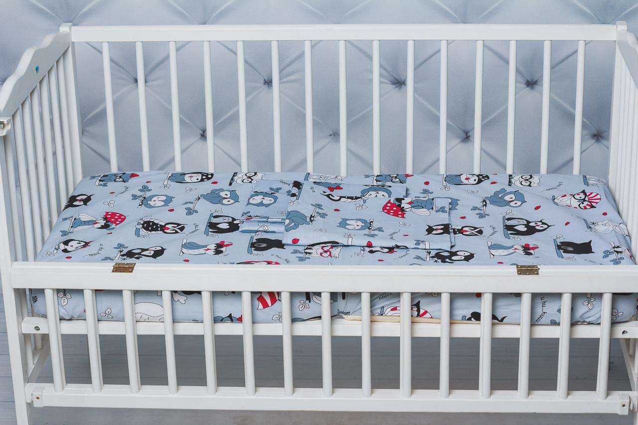 """Сменное  постельное белье в кроватку малыша принт """"Серые совы"""""""
