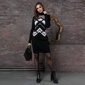 Женские трикотажное платье Злата черное с капучино