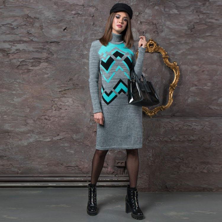 теплые вязаные платья злата серый меланж с мятой цена продажа