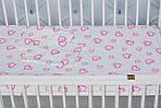 """Детское постельное белье в кроватку младенца  принт """"Сердечки розовые"""", фото 3"""