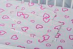 """Детское постельное белье в кроватку младенца  принт """"Сердечки розовые"""", фото 4"""