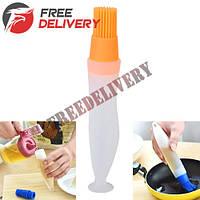 Кисть кисточка кулинарная кондитерская силиконовая с дозатором емкостью