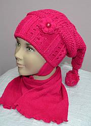 Комплект зимовий Арлекіно: шапка з шарфом для дівчинки (AJS, Польща)