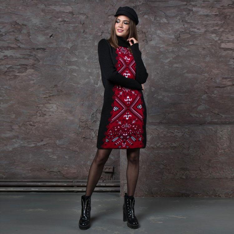 Вязаное зимние платье Ольга красная вышиванка