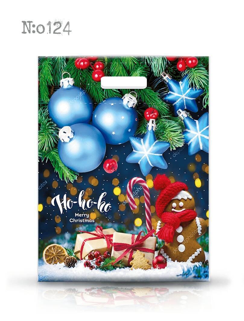 Новогодний пакет с прорезной ручкой ламинированный 30*40, 10 шт