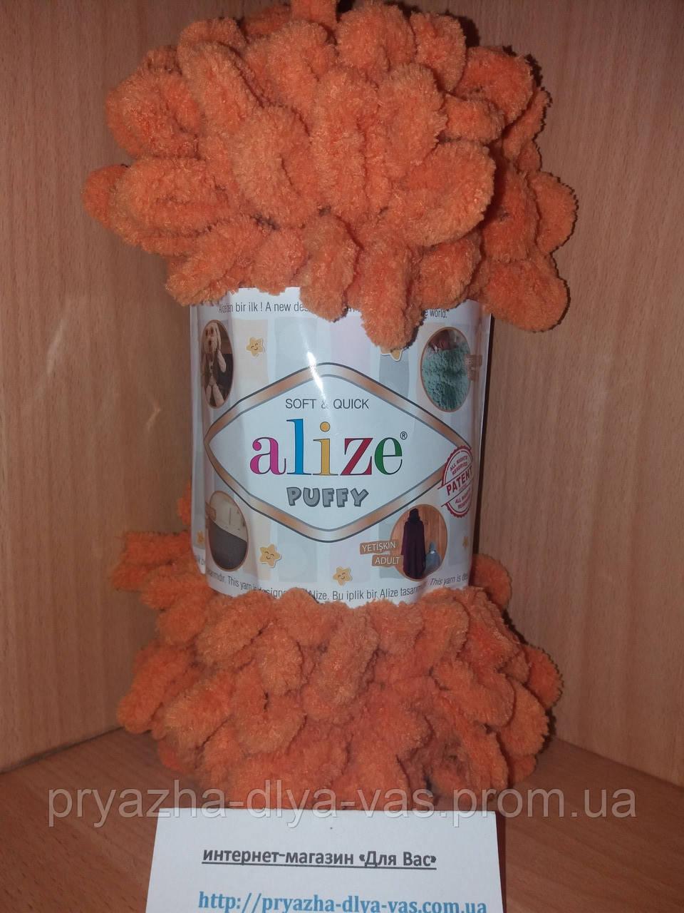 Пряжа для вязания руками (100%-микрополиэстер, 100г/9,2м) Alize PUFFY 336 (оранжевый)
