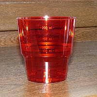 Стакан стекловидный 200мл 25шт красный (метка-200)