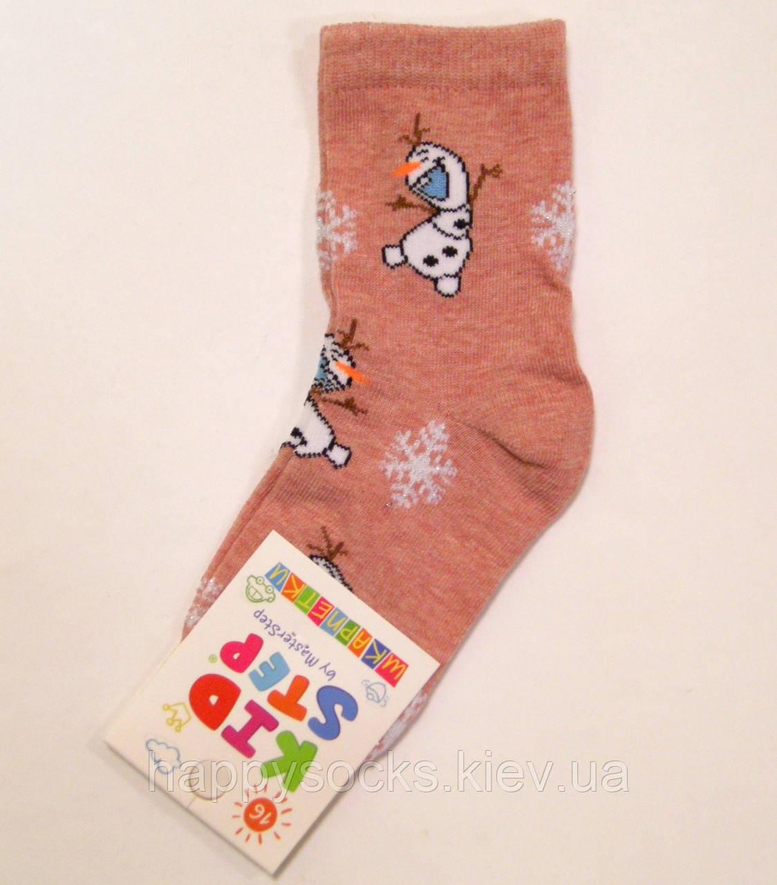 Носки новогодние детские со снеговиком