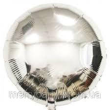 """Шар фольгированный Круг 17"""" (44 см) серебро металлик Китай"""