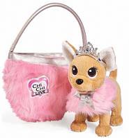 Собачка Чихуахуа Chi Chi Love Фэшн Принцесса красоты в меховом манто с тиарой и сумочкой Simba Toys, фото 1