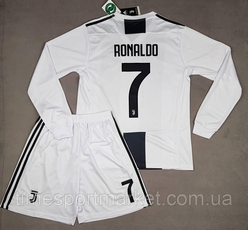 13a12dfdeba9 Футбольная форма Ювентус Роналдо взрослая бела-черная 2018-2019 (домашняя)  Длинный рукав