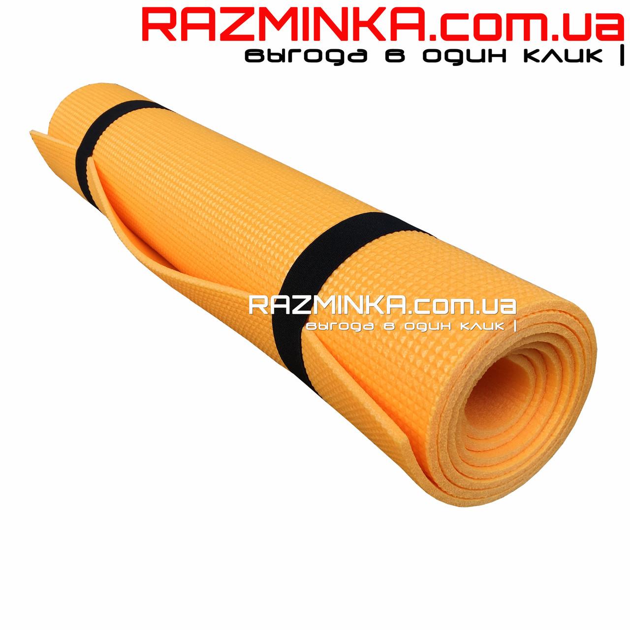 Коврик для йоги и фитнеса 5мм, оранжевый