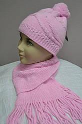 Комплект зимовий: шапка з шарфом для дівчинки (AJS, Польща)