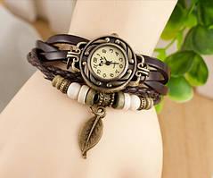 Винтажные женские часы-браслет на кожаном ремешке, цвет коричневый