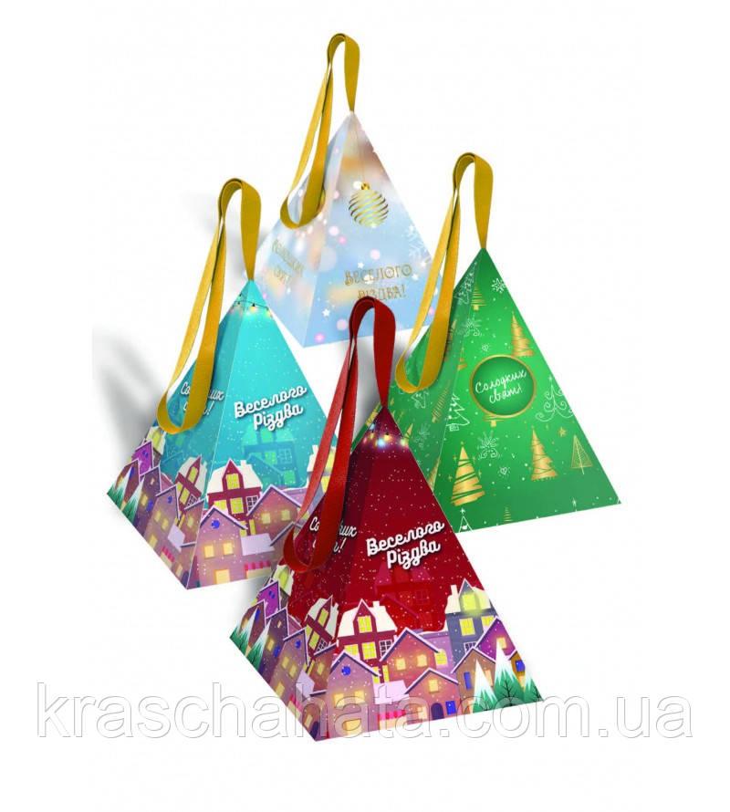 Сладкий новогодний подарок из конфет, Перламутровая пирамидка, вес 160 гр, 14 конфет