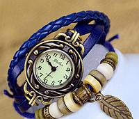 Винтажные женские часы - браслет на кожаном ремешке Синий