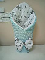 Конверт-плед плюшевый 80*100 см с шапочкой для новорожденного , фото 1