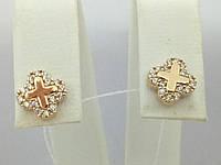 Золотые серьги-пуссеты с фианитами. Артикул СП1167И, фото 1