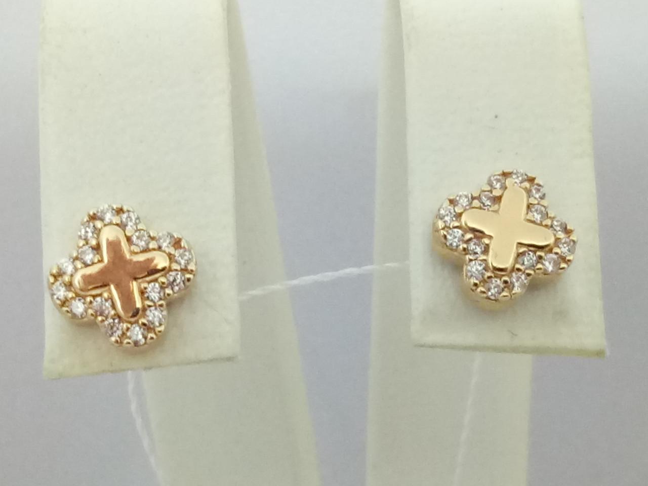 Золотые серьги-пуссеты с фианитами. Артикул СП1167И