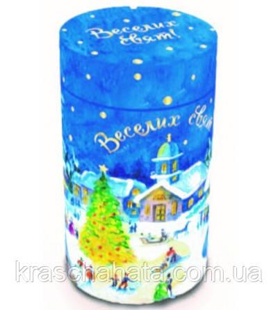 Сладкий новогодний подарок из конфет, Новогодний тубус, вес 483 гр, 31 конфет