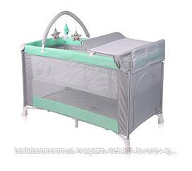 Кровать - манеж VERONA 2 LAYERS PLUS GREEN&GREY