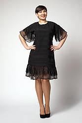 Черное женское платье свободного кроя и оригинальными рукавами, 48,50,52