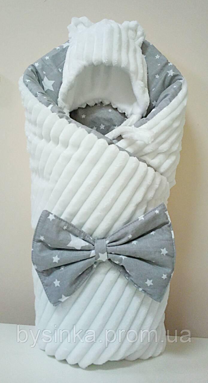 """Конверт , одеяло,плед детский """"Minky"""" с хлопком (зимний) на выписку новорожденного"""
