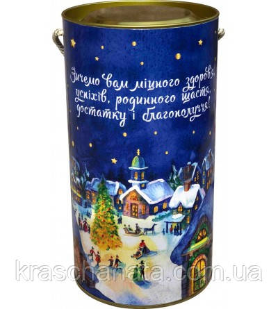 Сладкий новогодний подарок из конфет, Новогодний тубус, вес 700 гр, 46 конфет