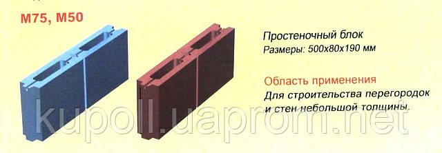 Шлакоблок перегородочный 80х190х500мм