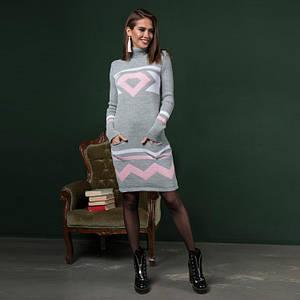 Вязаное женские платье Диамант светло-серый с розовым рисунком