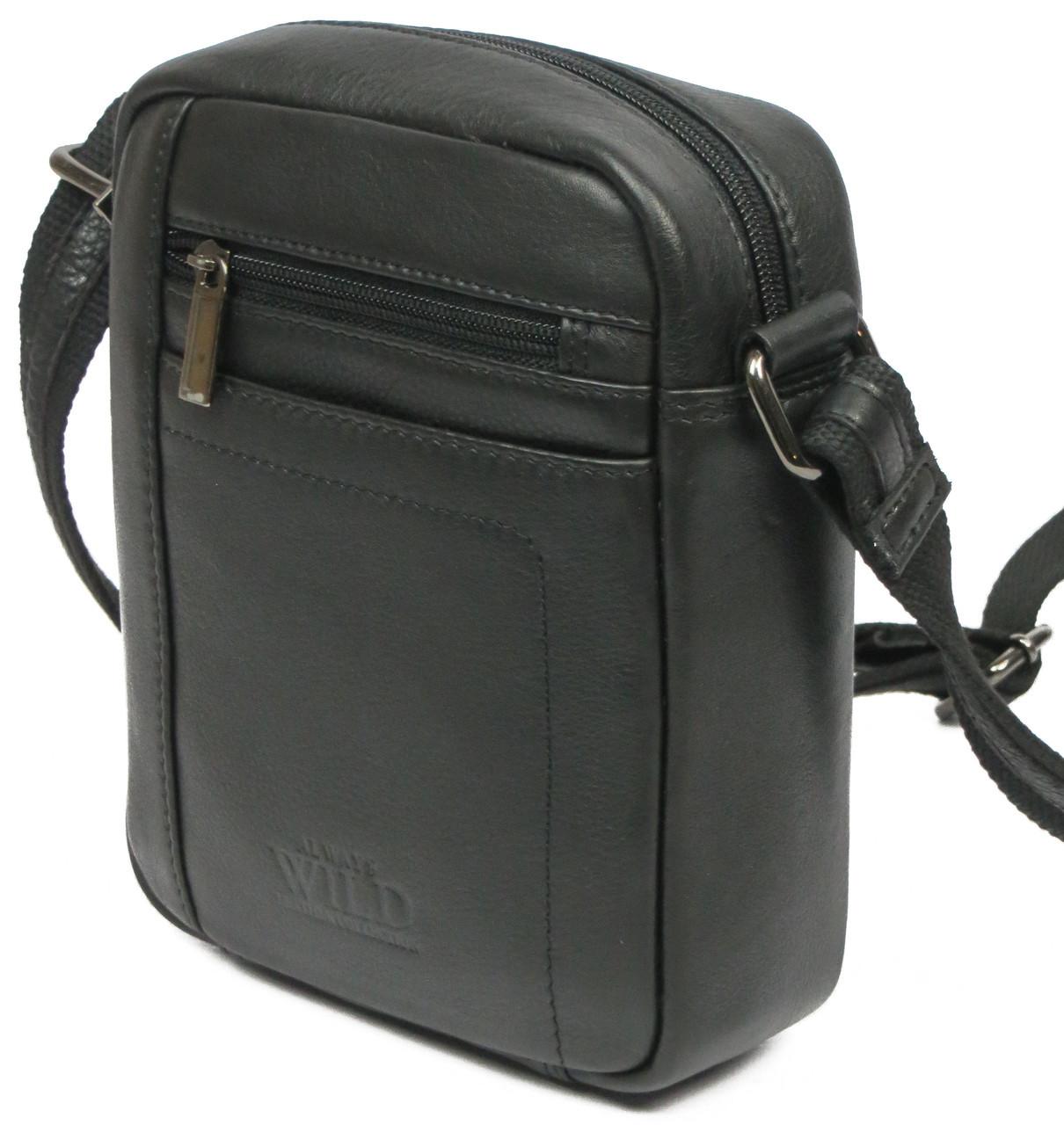 20699fe8e3ac Небольшая мужская кожаная сумка для документов Always Wild 8020 NDM черная  - Интернет - магазин
