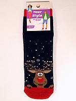 Махровые носки средней длины новогодние с оленем