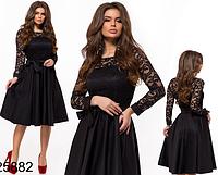 Вечернее платье с рукавами из кружева черный 825882