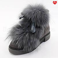 Женские серые ботинки спереди мех, фото 1
