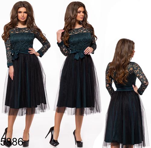f885a1360ab Вечернее платье миди с пышной юбкой из фатина цвет бутылка 825886 -  СТИЛЬНАЯ ДЕВУШКА интернет магазин