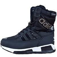 Сапоги спортивные женские Adidas (черные) на Меху 01fbea0abe731