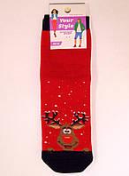 Носки новогодние махровые с оленем