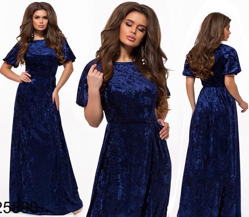 79161be5efd Длинное вечернее платье из бархата с коротким рукавом электрик 825890 -  СТИЛЬНАЯ ДЕВУШКА интернет магазин модной