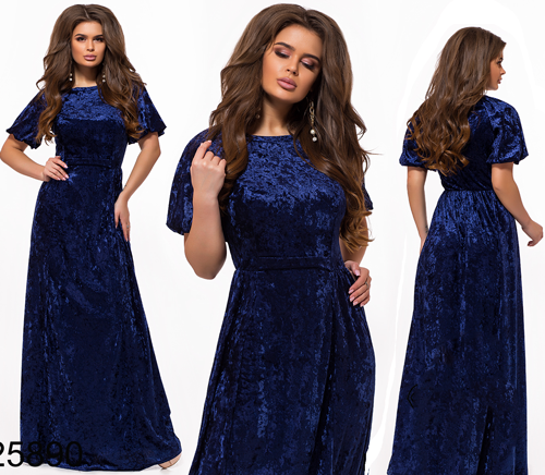 01e47e79bd7d753 Длинное вечернее платье из бархата с коротким рукавом электрик 825890 -  СТИЛЬНАЯ ДЕВУШКА интернет магазин модной