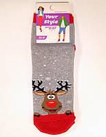 Носки махровые средней длины с оленем новогодние