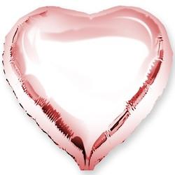 Куля фольгований Серце рожеве золото 45 см