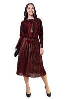 Новорічне ошатне плаття з трикотажу з люрексом бордового кольору