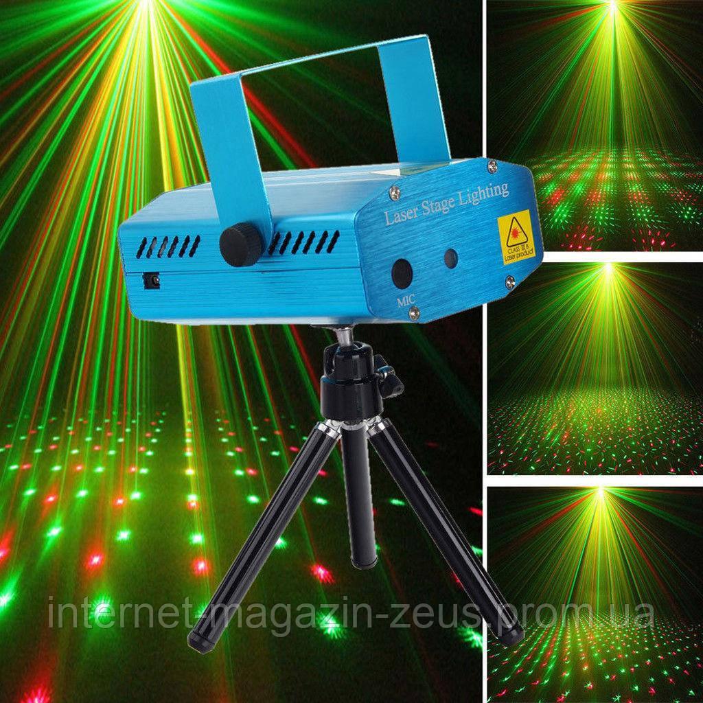 Лазерний міні проектор світломузика