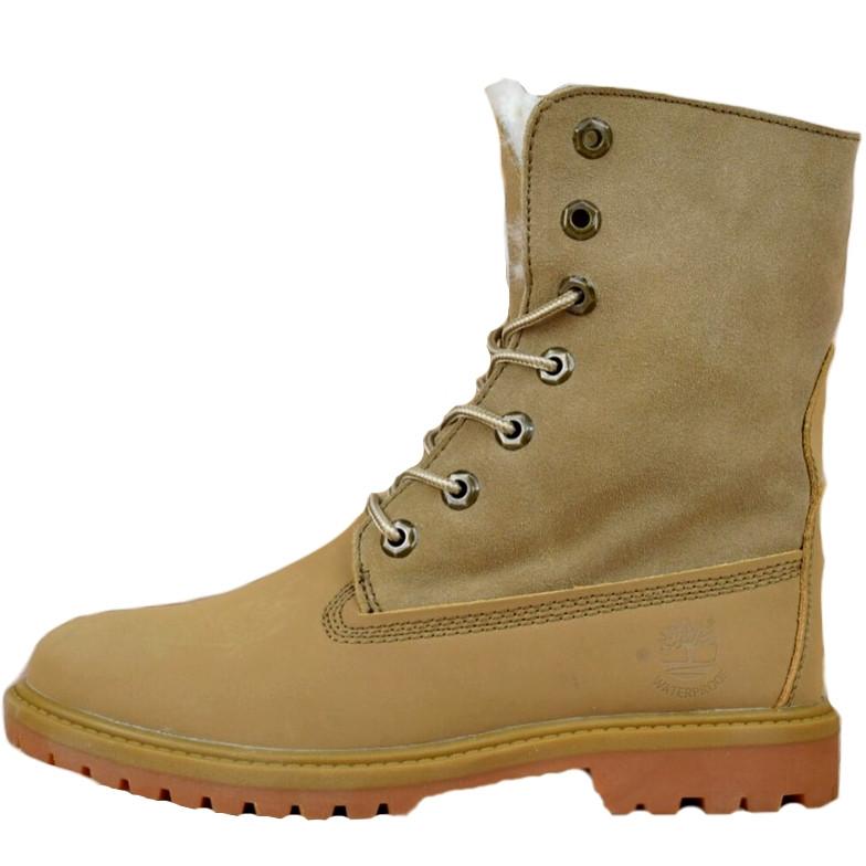 Ботинки женские Timberland Boot (песочные) на МЕХУ! Top replic
