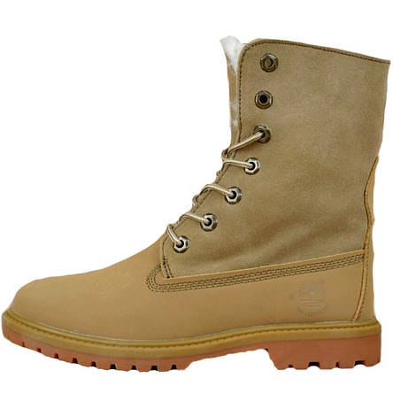 Ботинки женские Timberland Boot (песочные) на МЕХУ! Top replic, фото 2