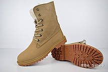 Ботинки женские Timberland Boot (песочные) на МЕХУ! Top replic, фото 3
