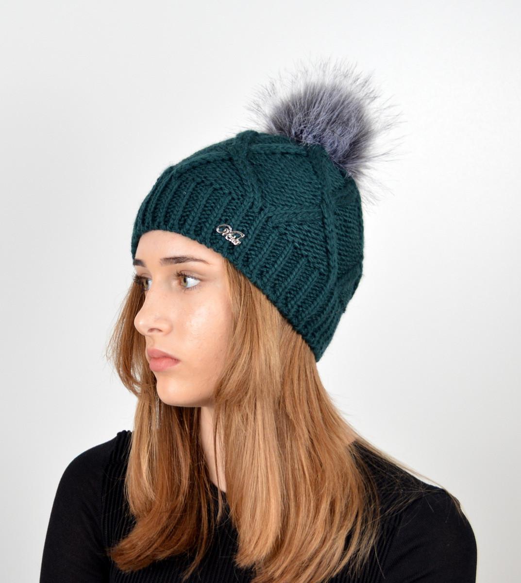 """Вязаная женская шапка """"Lalli"""" с меховым помпоном"""